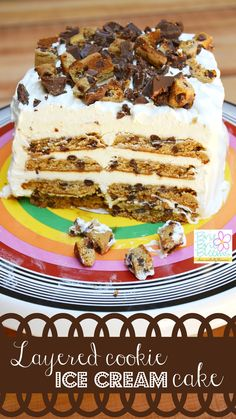 The Layered Cookie Ice Cream Cake Recipe is easy to follow and has just four main ingredients! It's the perfect dessert for a summer barbecue!