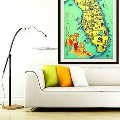 Map art decor SUNNY FLORIDA art print map by VintageBeachMaps, $44.00