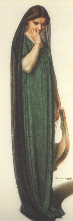 """Femme Tenant Lyre"" - Carlos Schwabe, 1905, female drawing #arthistory"