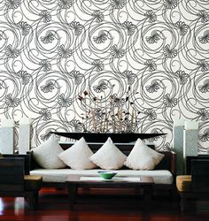 york wall coverings - script floral
