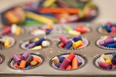Great idea - melts the old crayons, then adds stick, puts in packages for her kids to give as gifts. Cool!
