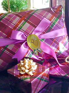 Bright Pink Tartan Gift Wrap--so pretty and a fresh wrapping idea.