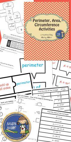 Perimeter, Area, Circumference Activity Bundle - Includes 4 activities Grades 4-8 $ #math #area #tpt