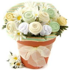 Neutral Clothing Gift Bouquet - Bibs, onesies, blankets inside a flower pot.