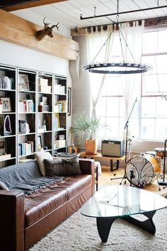 loft living room — Vivian & Leonard's Converted Loft in Oakland | Apartment Therapy