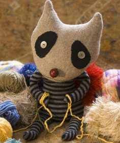 free stuffed raccoon sewing pattern - made from old sweaters