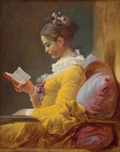 """Comfort is a cozy place to curl up with a book while, outside, it rains and rains. This is """"Young Girl Reading"""" by Jean - Honore´ Fragonard (1770)"""