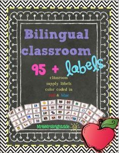 Classroom labels in spanish : #Labels for dual language or #bilingual classrooms.  #TPT