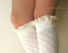 Lacey Sock - off-white boot socks - open-knit socks - Diamond patterned - lace socks (item no: 10-16)  graceandlaceco on etsy
