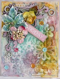 Card by Patter Cross using Blue Fern Studios Symphony Corners Mini Ring Things chipboard and Blue Fern Garden Calling Cards paper.