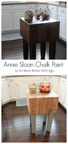 How to makeover a butcher block table with Annie Sloan Chalk Paint www.somuchbetterwithage.com