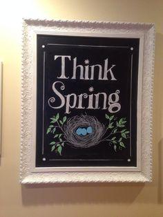 Think Spring chalkboard art