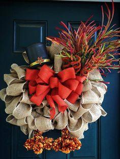 Burlap Turkey Thanksgiving Wreath #Fall #Autumn #Harvest #Thanksgiving #seasonal decor