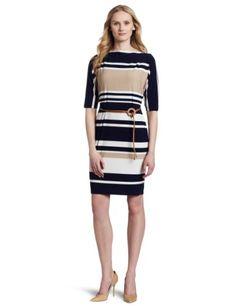 Dress Boutique — Jones New York Women's Boat Neck Stripe Belted Sheath Matte Dress