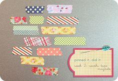 "use scrap paper to make ""tape"" magnets! I love it! via @allisonmaestri"