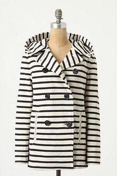 jacket, fashion, style, stripe jersey, anthropologie, closet, stripes, peacoats, jersey peacoat