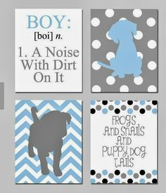 Like the idea of chevron and polka dot backgrounds for silhouettes. Change to girl colors and pictures