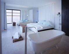 Hotel Deseo by Central de Arquitectura hotel deseo, white design, playa del carmen, tub, bath, master bedrooms, shower curtains, place, parti