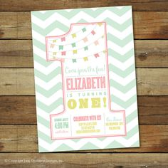 Classic first birthday party invitation  by saralukecreative, $16.00