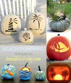 Best Beach Pumpkins for Autumn, Fall, Halloween. Carved, Rolled in Sand, Painted, Tropical... for Beach Bliss Living: http://beachblissliving.com/beach-pumpkins-fall/