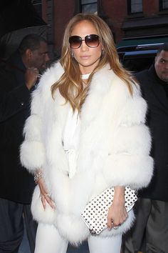 JLo in white fur