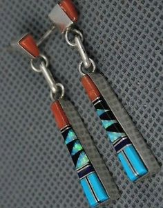 Old Pawn ZUNI Turquoise, Coral, Opla, Onyx FLUSH Inlay Sterling Dangle Earrings