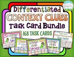 *HUGE* Context Clues Task Card Bundle. Easily differentiate instruction while engaging your students with this bundle of 168 differentiated context clues task cards! These task cards are perfect for use in whole group lessons, small group reteaching or enrichment, centers, early finisher work, etc.$