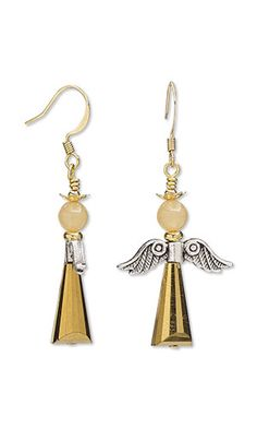 Earrings with Celestial Crystal® Glass Beads, Antiqued Silver-Finished