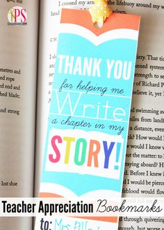Teacher Appreciation Bookmark by Positively Splendid for Tatertots and Jello