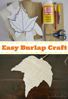 Burlap and paper sack fall leaves