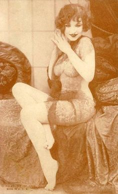 CHICAGO EXHIBIT SUPPLY COMPANY - ARCADE CARD - WOMAN SITTING IN SHEER OUTFIT - BROWN-TONES - 1930s