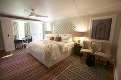 #WatchandPin  #DearGenevieve  Full view of bedroom:  queen size bed with neutral bedding and accent pillows, seating area with neutral colored chairs and small coffee tables.  (Air Date:  Sept 21 5:30pmEST)