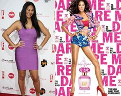 Kimora Lee Simmons without airbrushing (left), and with airbrushing in an ad for her fragrance. One tagline reads: Dare to be me. #fake #photoshop #thinspiration #curves #skinny #thin #retouch #beauty