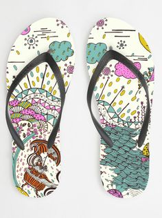 Garden Walk by Rebekah Ginda flip flops from sandalista.com buy a cool design or create your own - great concept!