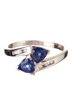 10K White Gold Tanzanite & Diamond Ring