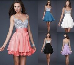 Colorful Beaded Sweet Cocktail Birthday Bridesmaid Homecoming Prom Party Dress