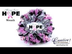 """How To Make a """"Breast Cancer Awareness"""" Deco Mesh Wreath - Pink Ribbon Wreath"""