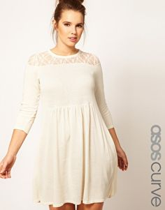 Knitted Dress With Lace from ASOS Curve.  Plus size.