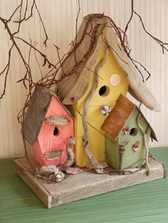Tricolored Birdhouse. So pretty!