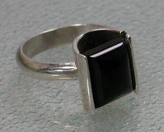 Sterling Silver Black Onyx Ring Simple by SilverSeahorseDesign, $55.00