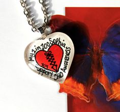 1 in 100 CHD Awareness Custom Handpainted Pendant by Katherine Mills. Save 25% W/Coupon Code JINGLE
