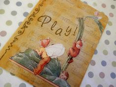 OOAK Art Collage and Ink Card PLAY with Pixies by PaperPastiche, $5.95 #hippiep #hmc #ibhandmade