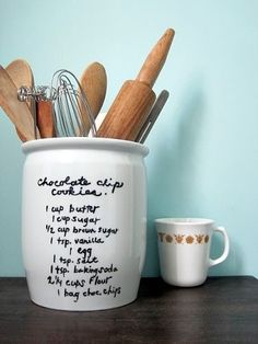 Put recipes on jars with sharpie or dry erase marker.  If you use a permanent marker this could be a great gift idea...fill the jar with things needed to make the recipe!
