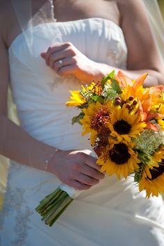 yellow sunflowers, hydrangea, berries~Meghan's bouquet~Stems Flower Shop