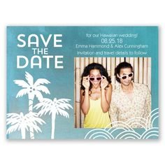 Batik Palm Tree Photo Save the Date by David's Bridal #weddinginvitations #beachwedding