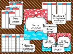 Coral and Aqua Teacher Planner   # Pinterest++ for iPad #