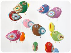 baby mobile colorful - 15 bright felt birds on Etsy,