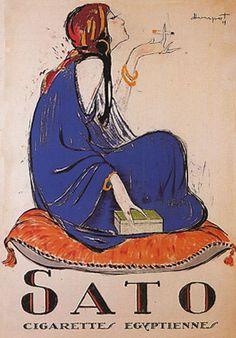 sato fashion, cigarett ad, vintage posters, french posters, vintag poster, art, sato cigarett, vintage ads, smoke