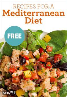 Recipes for Greek Chicken & Vegetable Ragout, Mediterranean Portobello Burgers, Shrimp Panzanella, Tuna Pasta with Olives & Artichokes and more!