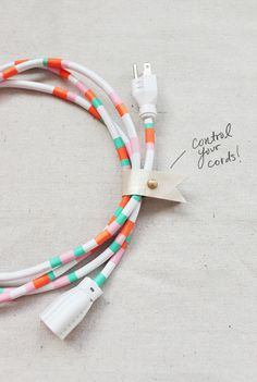 Now, something new for me to do with my growing collection of washi tape. DIY Decorative Power Cord power cord, cord control, crafti, wasi tape, washi tape diys, tapes, diy decor, cords